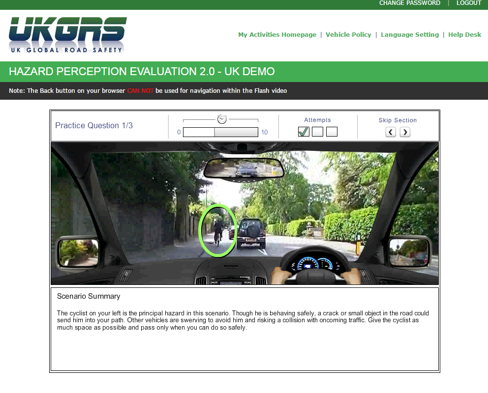 E-learning Online Driver Assessment and training